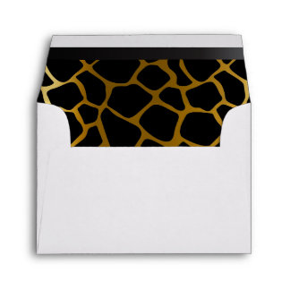 Lined Gold & Black Giraffe Animal Print Envelopes