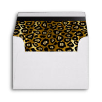 Lined Gold & Black Leopard Animal Print Envelope