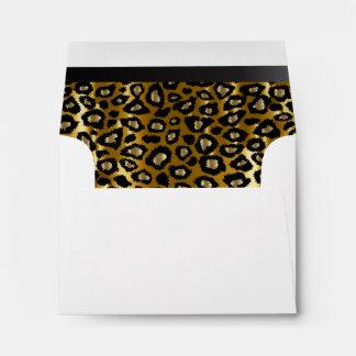Lined Gold & Black Leopard Animal Print Envelope