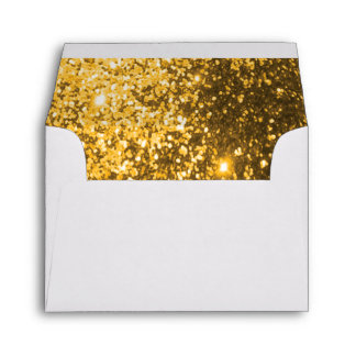 Lined Gold Glittery White Envelope