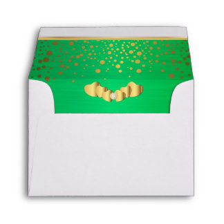 Lined Green Gold Confetti & Diamond Hearts Envelope