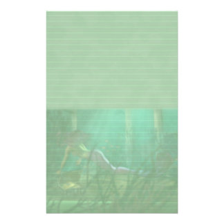 Lined Mermaid Stationery in Pastel Green