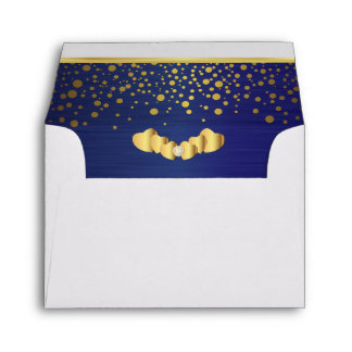 Lined Navy Blue Gold Confetti & Diamond Hearts Envelope