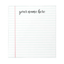Personalized Notepad Tear off Note Pad Memo Pad To Do List 50 or 100 Sheets Lined or Unlined in Choice of Colors