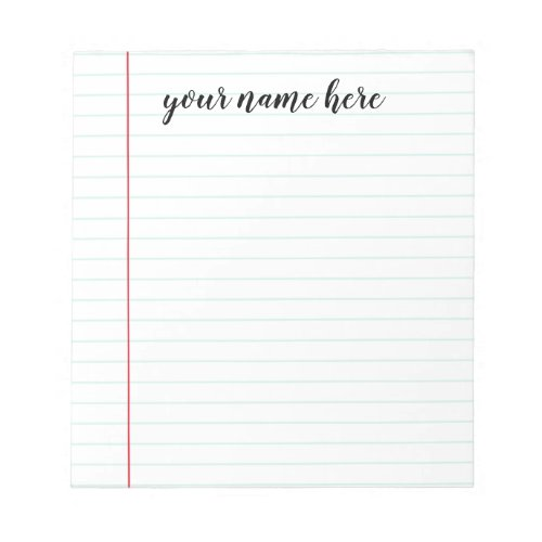 Lined Notepad Personalized