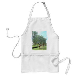 Lined Olive grove trees against blue sky Adult Apron