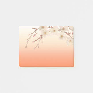 Lined Orange Shades Branch of White Blossoms Post-it Notes