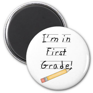Lined Paper and Pencil First Grade 2 Inch Round Magnet