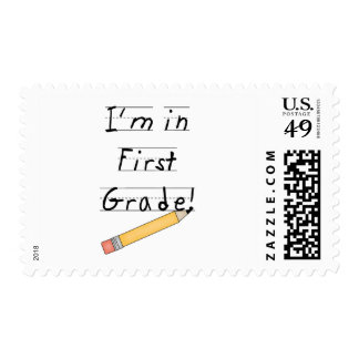 Lined Paper and Pencil First Grade Postage Stamps