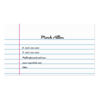 Lined Paper Double-Sided Standard Business Cards (Pack Of 100)