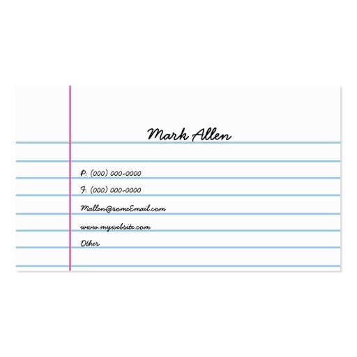 Lined Paper Double Sided Standard Business Cards Pack