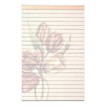 Lined Paper With Tulips