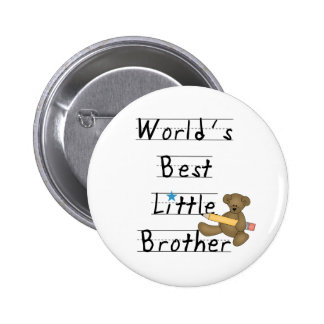 Lined Paper World's Best Little Brother Button