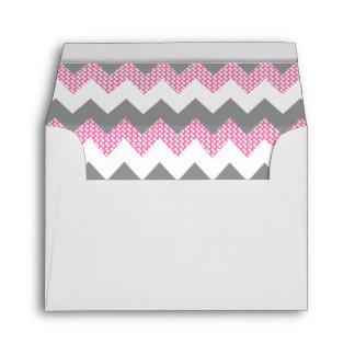 Lined Pink, White, Gray Chevron White Gold Bar Envelope
