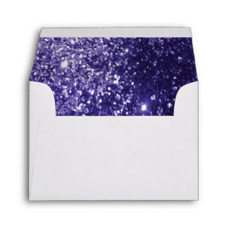 Lined Purple Glittery White Envelope