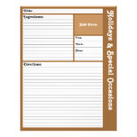 """Lined Recipe Page (Brown) 8.5"""" X 11"""" Flyer"""