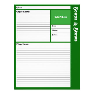 """Lined Recipe Page (Dark Green) 8.5"""" X 11"""" Flyer"""