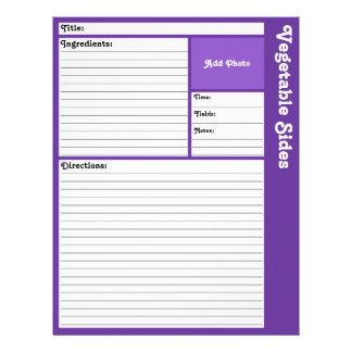 "Lined Recipe Page (Dark Violet) 8.5"" X 11"" Flyer"