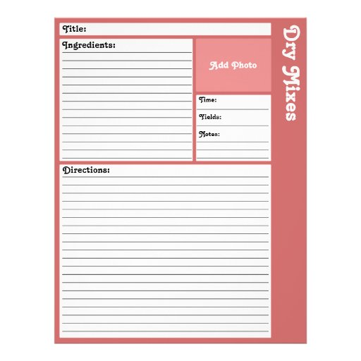 """Lined Recipe Page (Rose) 8.5"""" X 11"""" Flyer"""