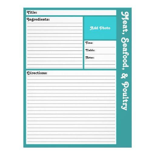 Lined Recipe Pages (Aqua) Flyer