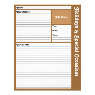 Lined Recipe Pages (Brown)