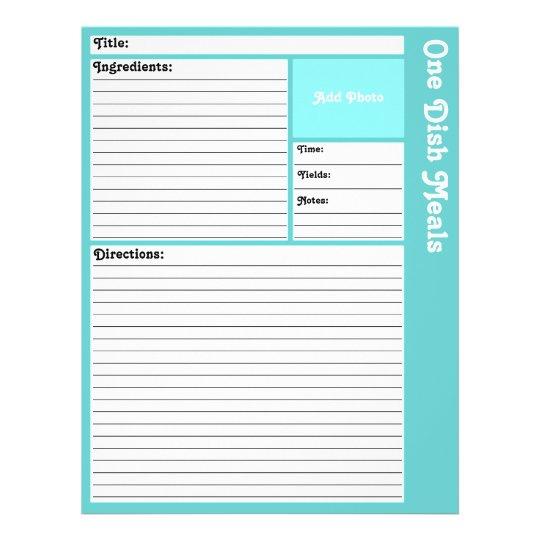 Lined Recipe Pages (Light Aqua)