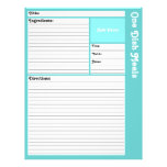 Lined Recipe Pages (Light Aqua) Flyer