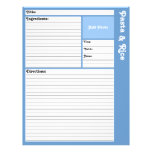 Lined Recipe Pages (Light Blue)
