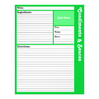 Lined Recipe Pages (Light Green) Flyer