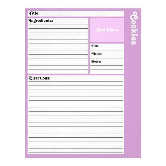 Lined Recipe Pages (Light Purple)