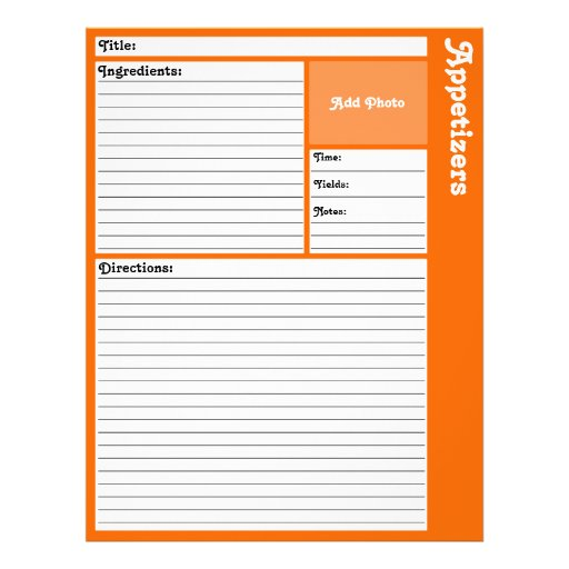 lined recipe pages  orange  flyer