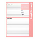 Lined Recipe Pages (Pink)