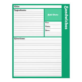 Lined Recipe Pages (Teal) Flyer