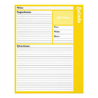 Lined Recipe Pages (Yellow)