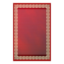 Lined Ribbon Lace on Red Metallic Stationery