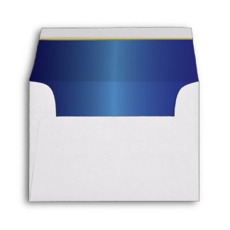 Lined Sapphire Blue with Gold Bar White Envelope