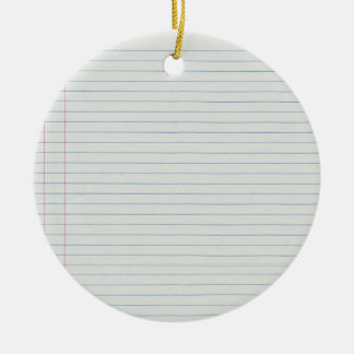 Lined School Paper Background Ceramic Ornament