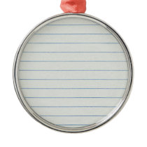Lined School Paper Background Metal Ornament