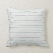 Lined School Paper Background Throw Pillow