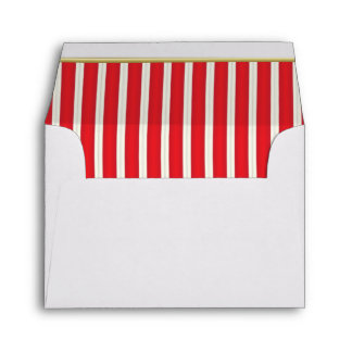 Lined Stripes in a Bright Deep Red & White Envelope