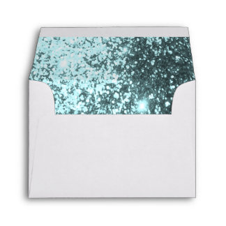 Lined Teal Glittery White Envelope