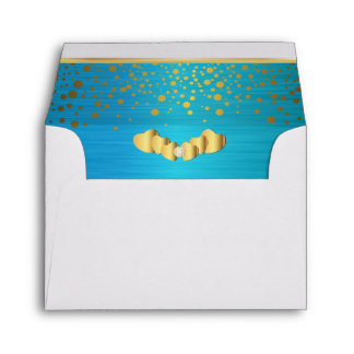 Lined Turquoise Gold Confetti & Diamond Hearts Envelope