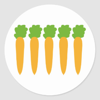 lined up carrots classic round sticker