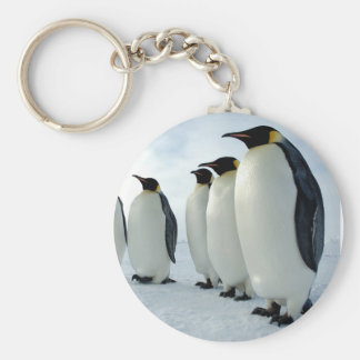 Lined up Emperor Penguins Basic Round Button Keychain