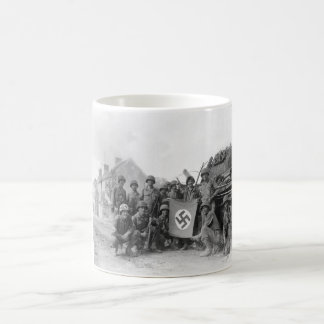 Lined up in front of a wrecked_War image Coffee Mug