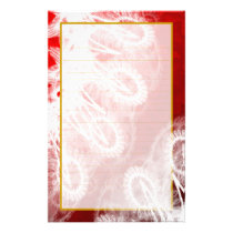 Lined White Lace on Red Metallic Stationery