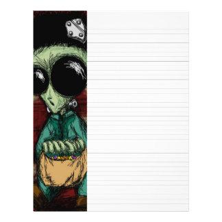 "Lined Writing Paper Alien Frankenstein Solid Black 8.5"" X 11"" Flyer"