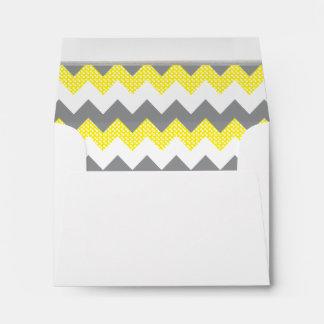 Lined Yellow, White, Gray Chevron White Gold Bar Envelope