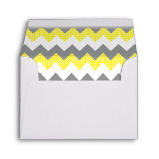 Lined Yellow, White, Gray Chevron White Gold Bar Envelopes