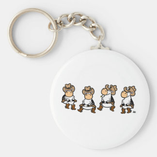 Linedancing Cows Basic Round Button Keychain